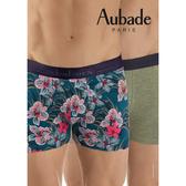 Aubade man-舒棉M-XL平口褲(花叢綠2件組)