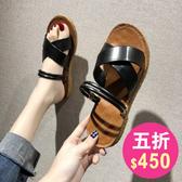 涼鞋 韓系平底兩穿沙灘羅馬鞋 花漾小姐【預購】