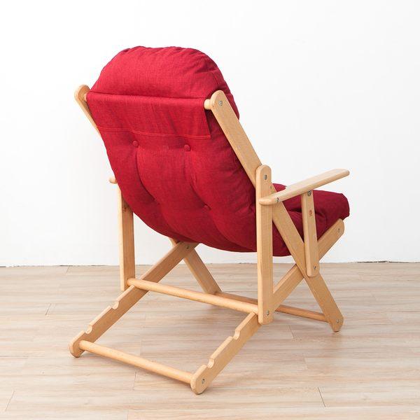 北歐簡約櫸木躺椅-紅色-生活工場