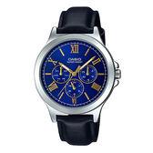 CASIO 卡西歐 手錶專賣店 MTP-V300L-2A 羅馬三眼指針男錶 皮革錶帶 普魯士藍 生活防水
