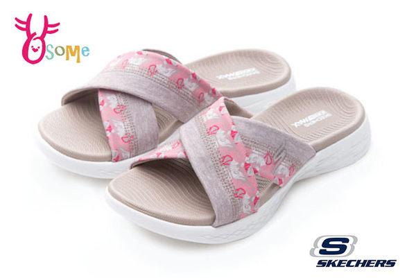 SKECHERS ON-THE-GO 600 女拖鞋 印花交叉帶拖鞋P8264#粉紅◆OSOME奧森童鞋