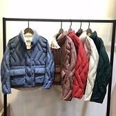 羽絨外套-白鴨絨-短款波浪紋雙面穿時尚女夾克5色73zb21【時尚巴黎】