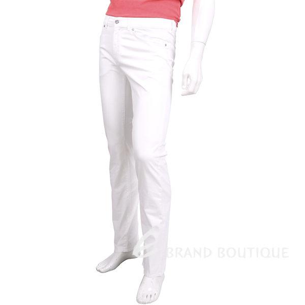 TRUSSARDI 白色仿舊銀釦直筒休閒長褲(男款) 1620458-20