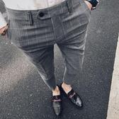 九分西褲男修身韓版英倫風小腳休閒褲青年條紋西裝褲潮流 雙11低至8折