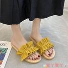 沙灘鞋 小清新涼拖鞋女外穿2021夏季新款韓版時尚百搭仙女風平底沙灘鞋潮 愛丫 新品