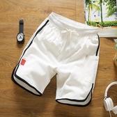 全館83折短褲男夏季寬鬆運動褲個性棉麻五分褲男撞色條紋沙灘褲夏天大褲衩