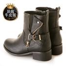 amai頂級牛皮-復古刷色皮帶裝飾彈性中筒靴 黑