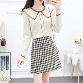 VK精品服飾 韓國小香風娃娃領針織千鳥格裙套裝長袖裙裝