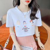 t恤 短版上衣韓版夏釘珠字母卡通刺繡印花圓領小清新減齡套頭純色T恤女潮HF211.胖丫