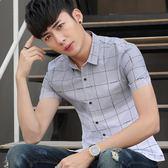 短袖格紋襯衫男短袖修身青少年格子學生襯衣薄款《印象精品》t462