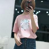 11韓版時尚手工花朵印花短袖T恤 3色 705011-7700