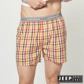 【JEEP】五片式剪裁 純棉平口褲 (黃色大格紋)