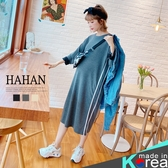 【HC5283】休閒雙白條 開岔針織棉洋裝