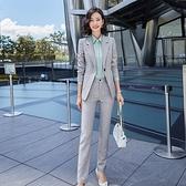 西裝套裝外套+長褲(兩件套)-條紋幹練氣質時尚女西服2色73yz25[巴黎精品]