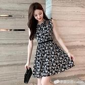 無袖洋裝 夏季新款矮小個子無袖蕾絲碎花a字洋裝女洋氣質顯瘦高 檸檬衣舍