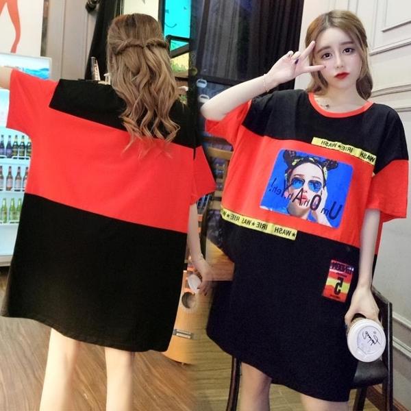 L-4XL胖妹妹大碼洋裝連身裙~大碼胖mm中長款短袖圓領t恤女裝上衣3F061A衣時尚