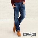 【7229】日系洗白抓痕伸縮中直筒牛仔褲...