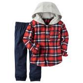 Carter's平行輸入童裝 男寶寶 長袖連帽襯杉西裝上衣&褲子 紅【CA249G254】