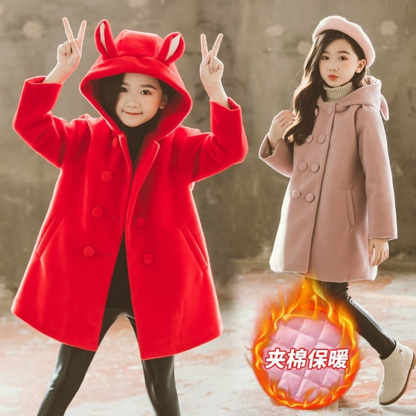 女孩連帽貓咪夾棉女童外套羽絨服 女兒童裝中大女童潮流棉服外套 韓加厚保暖秋冬洋氣加絨夾克