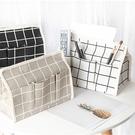 【BlueCat】普普格子風防水棉麻遙控器收納紙巾盒 面紙抽 面紙套