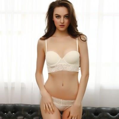 蕾絲內衣套裝(胸罩+內褲)-六排釦半罩性感內衣4色73ho45【時尚巴黎】