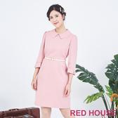 【RED HOUSE 蕾赫斯】花邊領蝴蝶結袖洋裝(粉色)