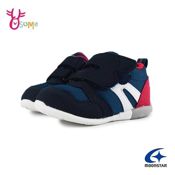 Moonstar月星童鞋 寶寶鞋 男嬰學步鞋 日本機能鞋 矯正鞋 3E寬楦 魔鬼氈 透氣 I9618#藍色◆奧森