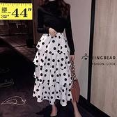 中長裙--俏皮清新復古女伶高腰黑白波點雪紡多層次蛋糕長裙(白XL-4L)-Q110眼圈熊中大尺碼◎