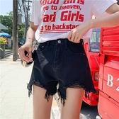 [S-5XL] 港味復古牛仔短褲女大碼高腰寬鬆毛邊流蘇闊腿熱褲 - 風尚3C