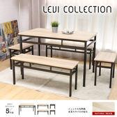 LEVI李維工業風個性鐵架餐桌椅組-5件式(LMK/CZ-1401餐桌+CY1401長凳*2+CY1402凳*2)【DD House】