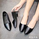 OL鞋 新款淺口單鞋中跟小皮鞋尖頭軟底女鞋黑色低跟工作鞋OB3663『美鞋公社』