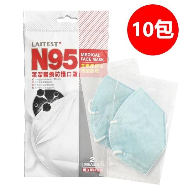 [ 現貨 ]萊潔 N95醫療防護口罩 顏色隨機 (2入/包,10包組)【杏一】
