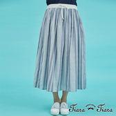 【Tiara Tiara】百貨同步 鬆緊腰綁帶純棉直條紋長裙(深藍/淺藍/灰黑)