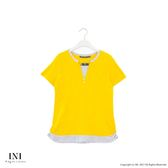 【INI】簡約休閒、質感舒服領口造型上衣.黃色