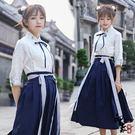 兩件套漢服漢服改良學院風民國學生套上衣長裙中國風漢元素 店慶降價