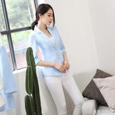 小西裝女外套秋季新款短款氣質修身顯瘦百搭韓版多粒扣中袖西服 藍嵐