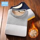 【Y198】shiny藍格子-舒適保暖.冬季男加絨圓領條紋針織上衣