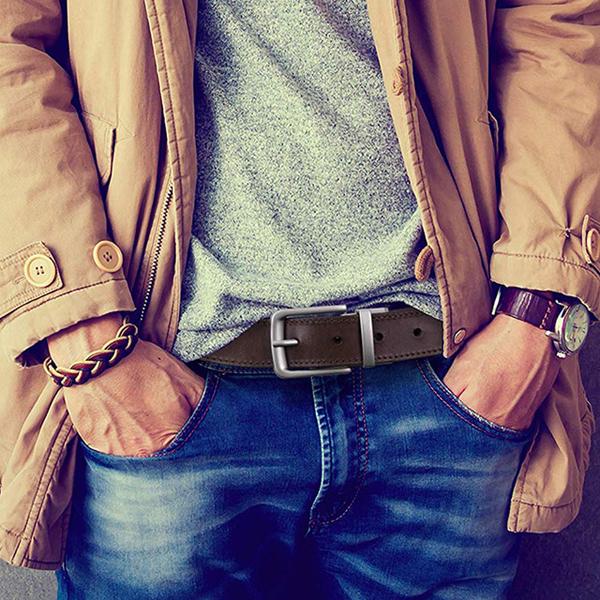 【Timberland】男皮帶 皮帶 雙面雙色 經典大樹標 銀扣頭/咖+黑