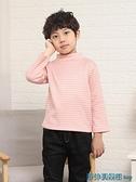 女童長袖T恤 兒童半高領打底衫純棉加絨加厚男童保暖內衣秋冬女童長袖t恤內搭 快速出貨