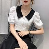 泡泡袖上衣 小香風短款設計感泡泡袖上衣顯瘦洋氣娃娃領短袖襯衫女夏-Ballet朵朵