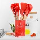 【台灣現貨可自取】木柄矽膠廚具11件套收納桶裝 九色系矽膠廚具十一件套裝