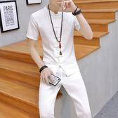 夏季運動套裝男士 棉麻短袖兩件套中國風休閒潮流衣服 AL189【大尺碼女王】