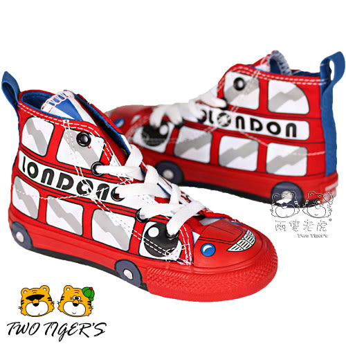CONVERSE ALL STAR 倫敦巴士 側邊魔鬼氈 高筒帆布鞋 小童鞋 NO.R1911