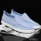 【快速出貨】 夏季新款淺藍色低幫布鞋護士休閑鞋懶人鞋一腳蹬帆布 布衣潮人