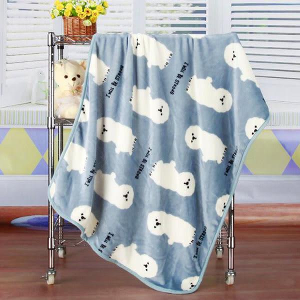 【BlueCat】雪白圓頭比熊犬午睡毯 小毛毯 懶人毯 披肩 蓋毯 寵物毯