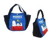 【卡漫城】 便當袋 Snoopy 藍 ㊣版 史努比 拉鍊 餐袋 手提袋 手提包 史奴比 糊塗塔克