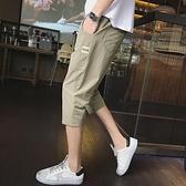 七分褲 褲子夏季休閒韓版潮流運動修身薄款五分中褲七分褲男士短褲7分褲