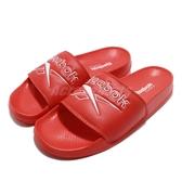 Reebok 拖鞋 Classic Slide 紅 白 基本款 復古 大LOGO 舒適好穿 男鞋 女鞋【PUMP306】 DV4910