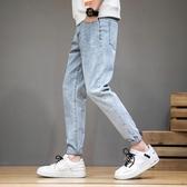 夏季新款褲子男韓版潮流牛仔褲修身小腳九分網紅ins寬鬆直筒 PA15976『男人範』