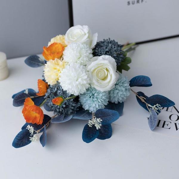現代簡約愛馬仕色仿真花藝客廳裝飾擺件花束餐桌陶瓷婚慶花瓶落地